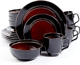 مجموعة أواني طعام جيبسون هوم بيلا جاليريا من 16 قطعة قابلة للتفاعل مع 4 قطع من الأحجار الكريمة باللون الأحمر/الأسود