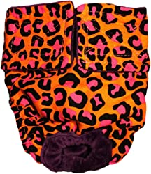 Barkerwear Dog Diapers - Made in USA - Orange Hot Pink Leopard Washable Dog Diaper for Incontinence, Housetraining and Dogs in Heat