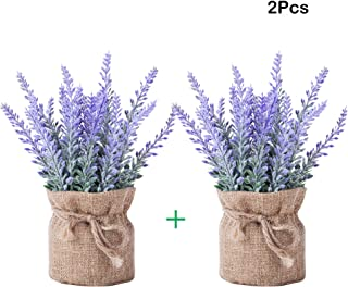 YAPASPT 2 Piece Burlap Potted Lavender Flowers - Artificial Fake Flower and Plant Flocked Charming Purple for Warm and Loving Home or Venue Decor