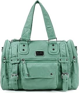Satchel Handbag for Women, Ultra Soft Washed Vegan Leather Crossbody Bag, Shoulder Bag, Tote Purse, H1485