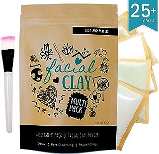 Clay Face Mask Assortment Pack | Makes up to 25 masks | Indian Healing Clay (Bentonite), French Green Clay, Rhassoul Clay & Kaolin Clay | 100% natural | Bonus: Facial Mask Brush