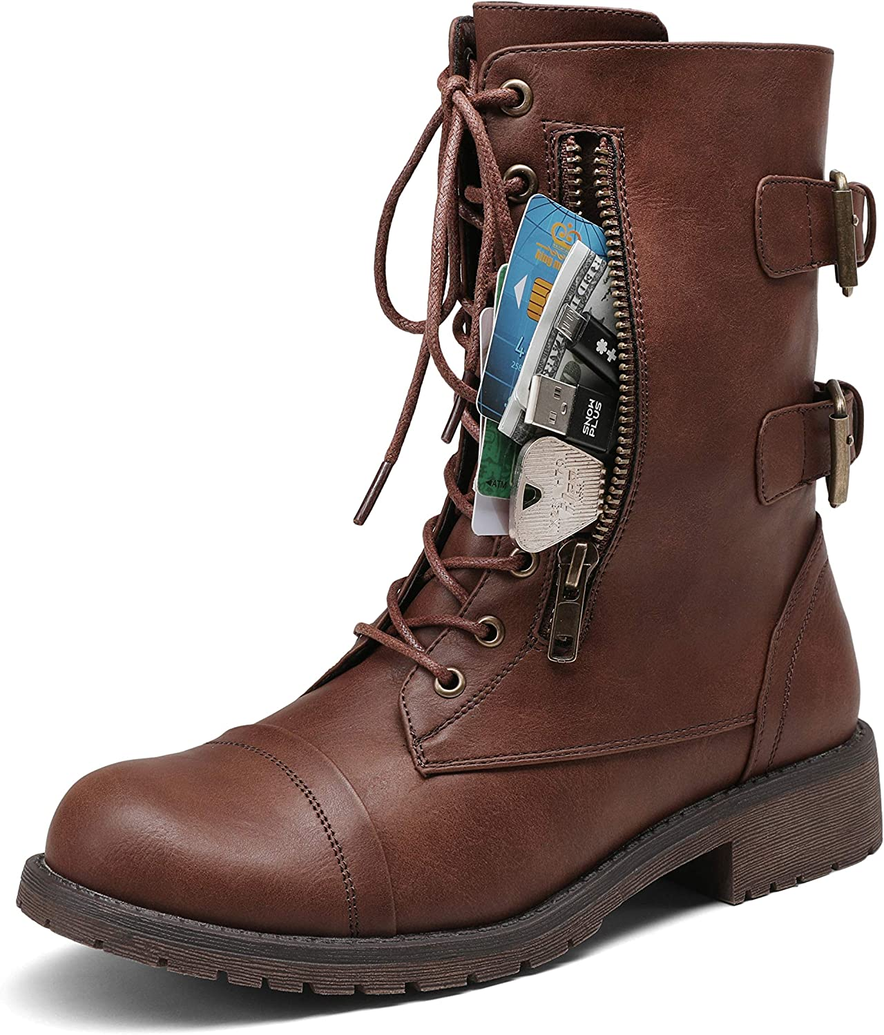 VEPOSE Women's 28 Mid Calf Boots Military Combat Boot with Card Knife Wallet Pocket