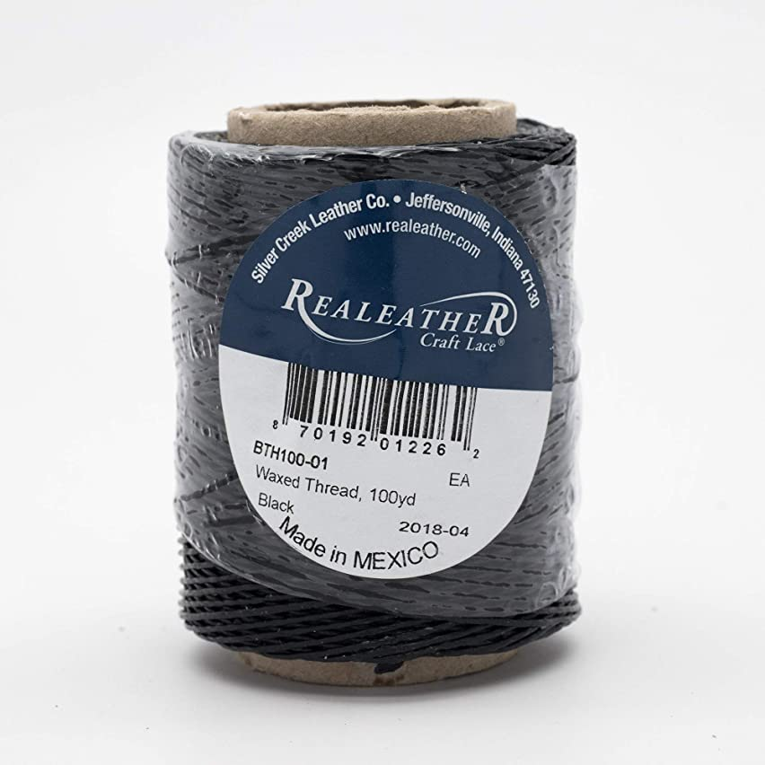 Realeather BTH100-01 Waxed Thread for Leathercrafting, 50 g, Black