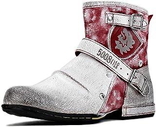 osstone Bottes de Moto Cowboy pour Hommes Mode Zipper Bottes Chukka en Cuir Chaussures décontractées OS-5008-1-P-R