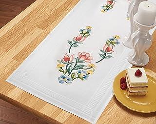 Kamaca Stickpackung BLUMENBOUQUET Stickdecke Läufer 40 x 100 cm Stielstich Nadelmalerei Plattstich vorgezeichnet aus 100% Baumwolle zum Selbersticken