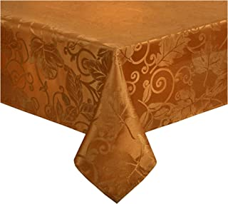Nantucket Fall Tablecloth Leaves and Scrolls for Kitchen and Dining Table, Harvest Damask Solid Colors for Autumn and Thanksgiving Stain Resistant, Liquid Spills Bead up (Bronze, 70 Round)