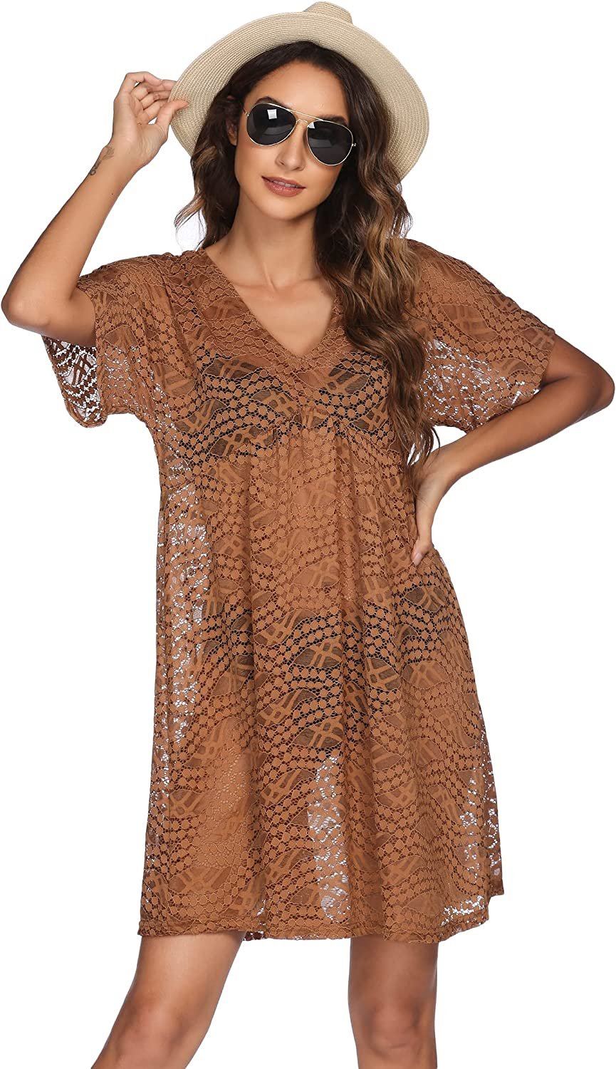 Ekouaer Women Swimsuit Cover Ups Batwing Sleeve Sheer Lace Cover Up Bathing Suit Beach Dress