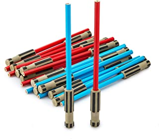 Lifetime Inc Light Saber Eraser Party Favors, 24 Pack Blue and Red Pencil with 3D Eraser