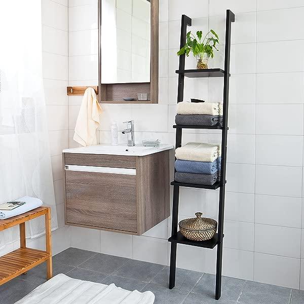 Haotian Modern Ladder Bookcase Made Of Wood Book Shelf Stand Shelf Wall Shelf US FRG15 SCH