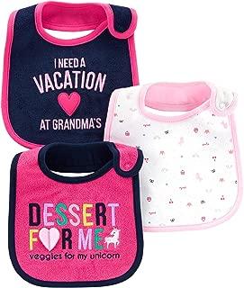 Carter's Child of Mine Baby Girls' 3 Pack Bibs (Pink Unicorn)