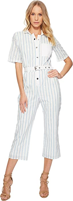 Hermosa Striped Eyelet Jumpsuit
