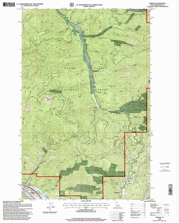 Osburn ID topo map, 1 24000 Scale, 7.5 X 7.5 Minute, Historical, 1996, Updated 1999, 26.7 x 22 in