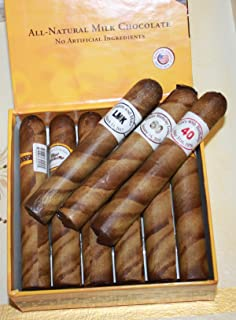 Custom Round Brown Royal Chocolate Cigars in a Fancy Cigar Box of 12 with Personalized Cigar Bands