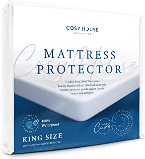 Cosy House Luxury Bamboo Mattress Protector - Waterproof, Hypoallergenic & Ultra Soft Breathable Fitted Mattress Cover for Bed - PVC, Phthalate & Vinyl-Free (King)
