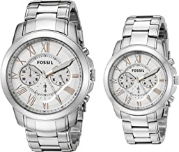 Fossil His & Her Silver Bracelet Grant Couple Watch Gift Set BQ2180SET