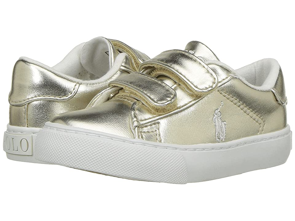 Polo Ralph Lauren Kids Easten EZ (Toddler) (Gold Metallic/White Pony Player) Kid