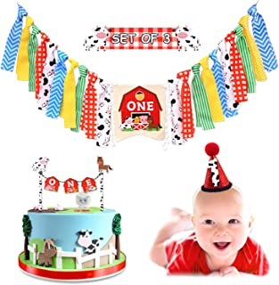 Vansolinne Farm Animal 1st Highchair Banner Barnyard Birthday Party One Cake Topper Cow Hat Supplies Cake Smash Milestone Photo Prop Garland Decorations