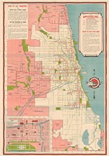 Historic Pictoric Map - Chicago Transit Maps, Rapid Transit Lines 1941 Railroad Cartography - Vintage Poster Art Reproduction - 24in x 16in