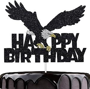 Artczlay Bald Eagle Happy Birthday Cake Topper Black Glitter Cake Topper Bald Eagle Themed Party Cake Decoration