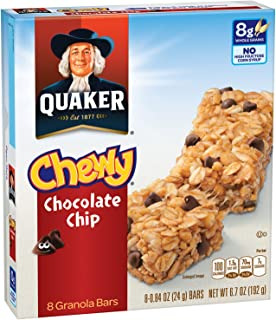 Quaker Chewy Granola Bar, Chocolate Chip, Snack Bars, 8 Bars Per Box (Pack of 12 Boxes)(Packaging may vary)