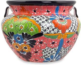 NOVICA Floral Guanajuato Garden' (14 inch) Ceramic Flower Pot, 14