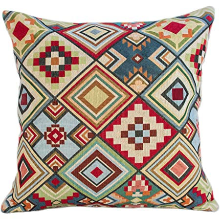Linen Loft Printed Navajo Kilim Style Cushion Cover Teal Blue And Burnt Orange Abstract Geometric Design 17 X17 43cm Square Pillow Case 100 Cotton Double Sided Native American Style Amazon Co Uk Kitchen Home