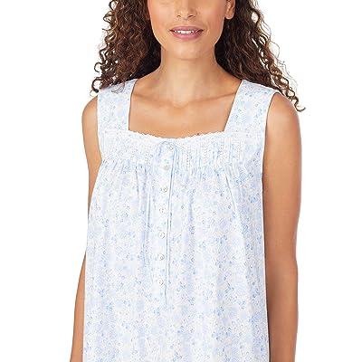 Eileen West Cotton Jersey Knit Sleeveless Short Nightgown (White Ground Peri Floral Mutli) Women