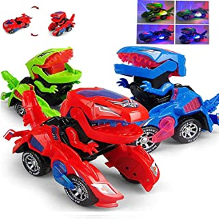 Lucky Boy Transforming Dinosaur LED Car, Automatic Dinosaur Transformer Toy with Light and Sound for Kids 3+ Years (Green)