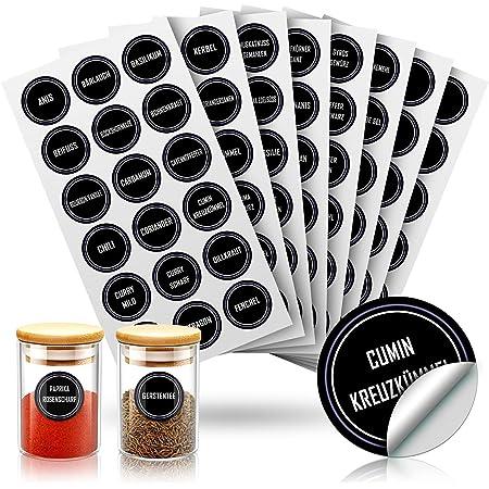 JIPRENS Étiquettes à épices (229 pièces) - Étiquettes de cuisine étanches - Rondes - Autocollants autocollants - Réutilisables - Pour la cuisine, les bocaux à épices, les étagères.