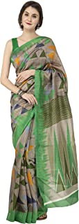 Multi-Color Art Bhagalpuri Silk Printed Latest Design Women Saree With Blouse Piece