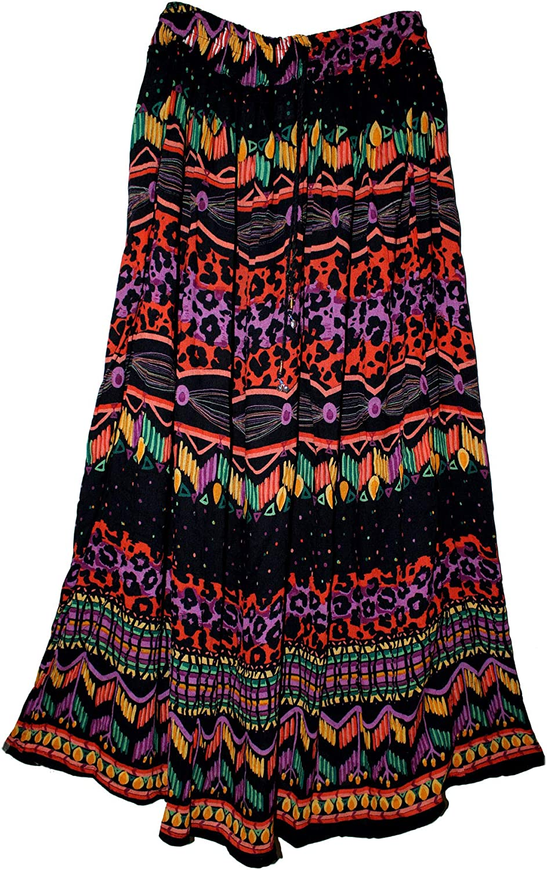 FOI Rayon Hippy Skirt Indian Kjol Boho Rock Retro Falda Women Gypsy Jupe Ethnic