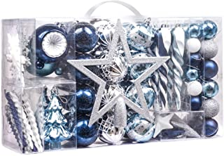 Valery Madelyn 100ct Winter Wishes Shatterproof Christmas Ball Ornaments Decoration Silver and Blue with Tree Topper,0.78Inch-6.7Inch for Christmas Tree Decoration