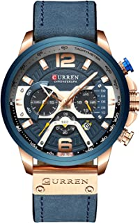 Men Fashion Sport Chronograph Watch Elegant Business Casual Dress Quartz Leather Clocks for Gift with Calendar Band Color: Black/Blue/Brown