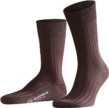 FALKE Milano sokken voor heren, Fil D'Écosse katoen, zwart, grijs, meer kleuren, dunne lichte kalfsokken, effen geribbeld ...