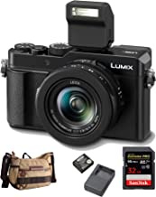 Panasonic Lumix DMC-LX100 II Large Four Thirds 21.7 MP Multi Aspect Sensor 24-75mm with Panasonic DMW-ZSTRV Battery & Charger Pack, Camera Bag and 32GB SD Card