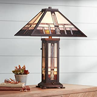 Alfred Art Deco Table Lamp with Nightlight Bronze Stained Glass Shade for Living Room Family Bedroom Nightstand - Robert Louis Tiffany