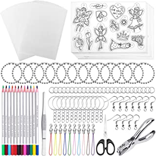 Shynek 205 Pieces Shrinky Art Kit for Shrinky Dink, Include 20 PCS Shrinky Art Paper and 185 PCS Keychains Accessories for...