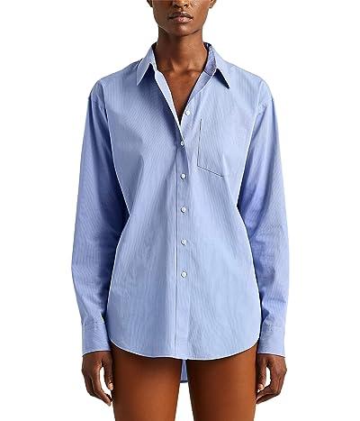 LAUREN Ralph Lauren Striped Cotton Shirt (Blue/White Multi) Women