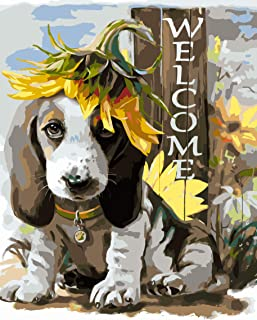 FAVOREADS Paint by Numbers Kit: Puppy Welcomes You Home   DIY Canvas Painting for Adults & Kids   Pre-Printed Canvas, 3 Br...