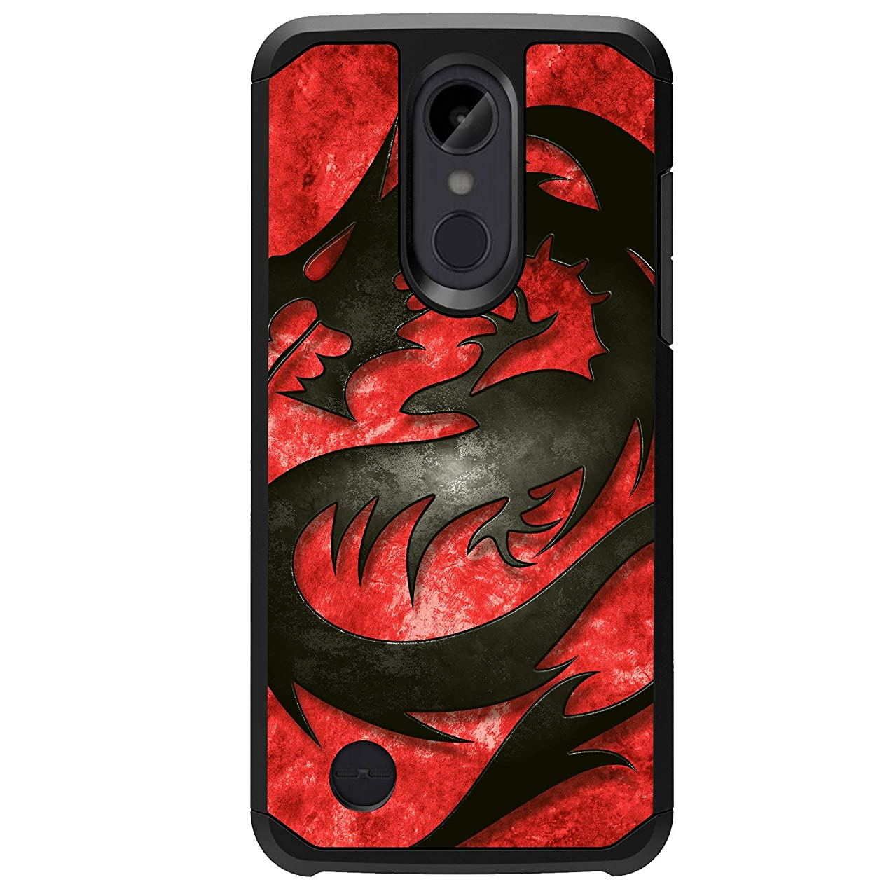 MINITURTLE Case Compatible LG Rebel 2, LG Phoenix 3, LG Fortune, LG Risio 2 Case[Impact Resistant Silicone Interior][Slim][2-Part Protection] - Red Dragon