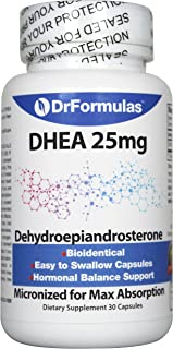 DrFormulas DHEA 25mg Booster for Women and Men   Dehydroepiandrosterone Pills Testosterone and Androgen Support, 30 Capsules (not Cream or Gel)