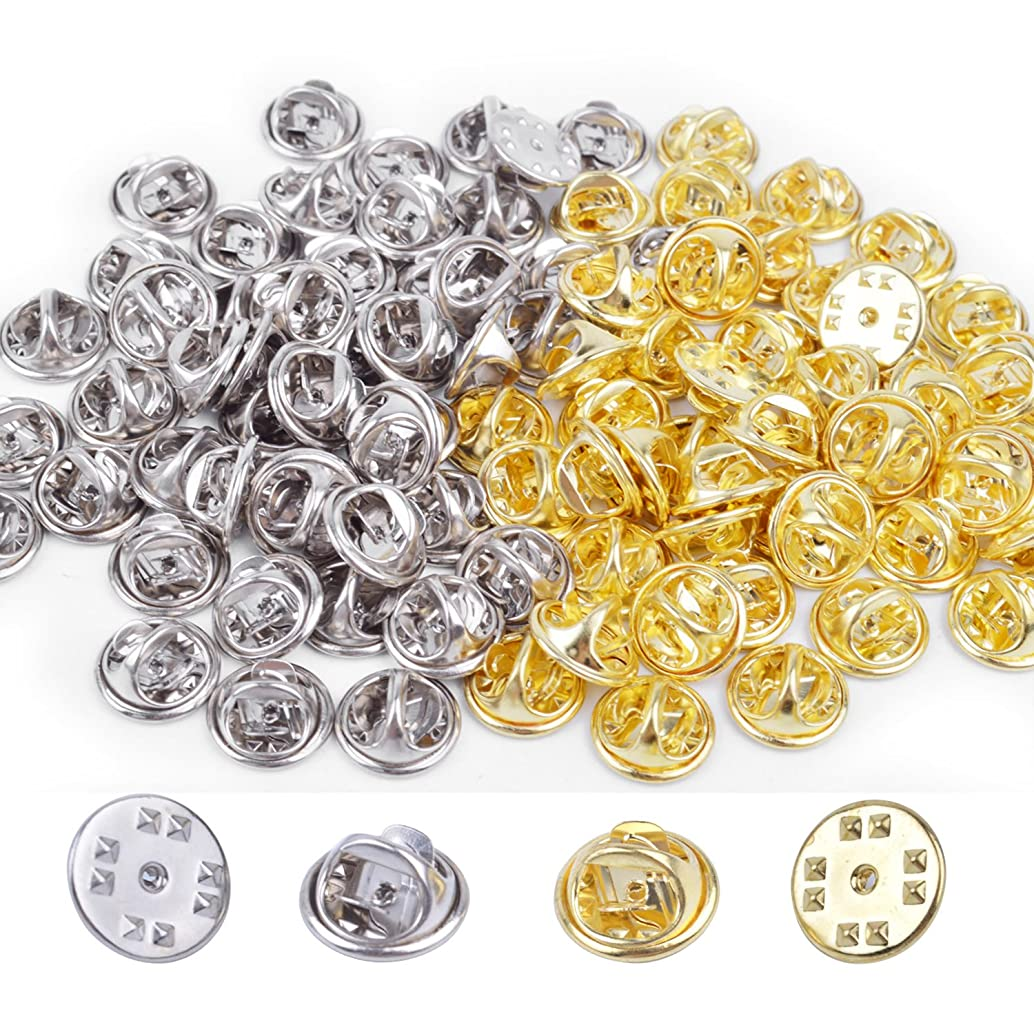 BronaGrand 100 Pcs Metal Pin Keepers Butterfly Clutch Badge Insignia Clutches Pin Backs Replacement (Multicolor)