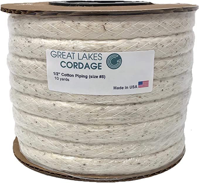 5mm Bleached White Cotton Piping Cord Upholstery Soft Furnishings No.10 Twisted