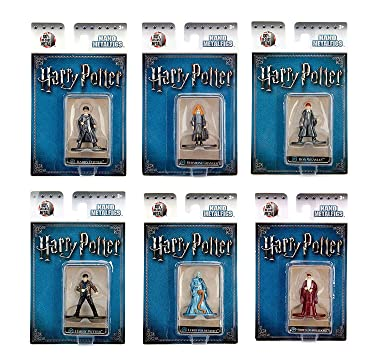 HARRY POTTER Nano Metalfigs Die-Cast Mini Figures Set of 6 - Dumbledore, Year 1, Hermione Granger, Ron Weasley, Year 7 & Voldemort