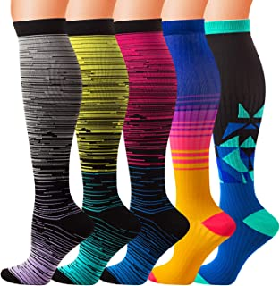 5 Pairs Compression Socks (20-30mmHg) for Men & Women Compression Stockings for Running,  Athletic,  Travel,Edema,Nurses