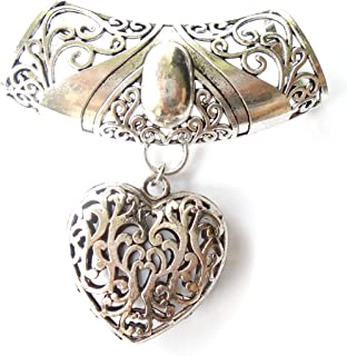 Fashion Scarf Jewelry Necklace Large Floral Bail W Heart Shape Pendant