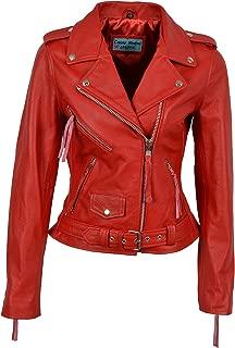 Smart Range Ladies Brando Classic Motorcycle Genuine Cowhide Leather Jacket MBF