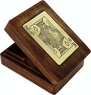 SKAVIJ Wooden Handmade Playing Card Box for 1 Deck Decorative Case (Brown)