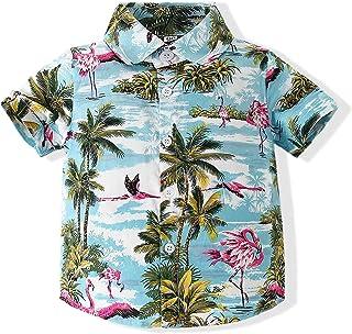 Baby Boys Casual Cartoon Print Tee Button Down Slim-Fit Tops Short Sleeve Aloha Hawaiian Shirt