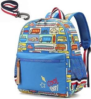 willikiva Cartoon Bus 12 Kindergarten Backpack for Kids Girls and Boys,Waterproof Preschool Toddler Backpack Wiht Leash an...